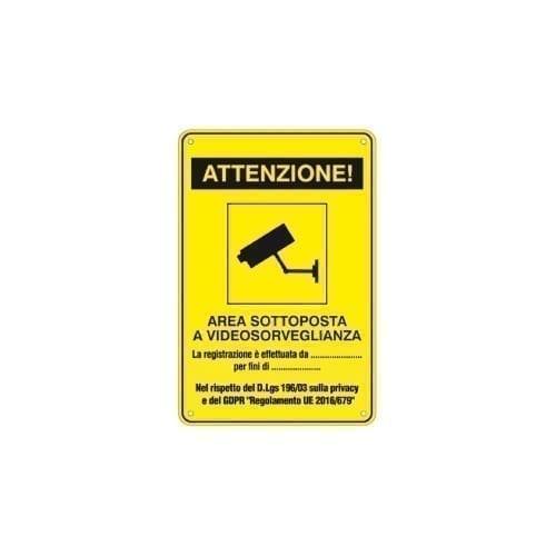 """Targhe in alluminio di """"area videosorvegliata"""" 18x12cm - GBC"""