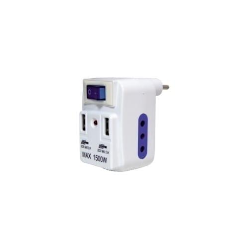 Tripla 2 10A + 2 prese USB con interruttore GBC