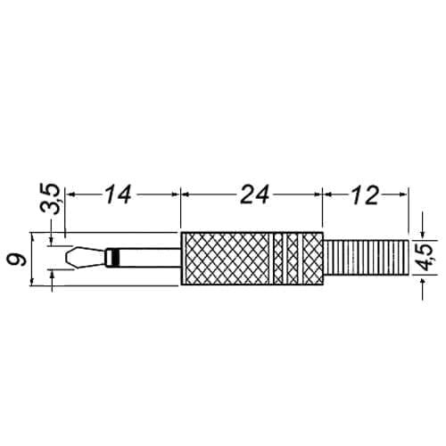 Spina jack 3,5 mm mono dorata GBC