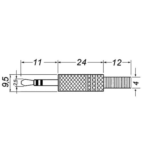 Spina jack 2,5 mm stereo dorata GBC