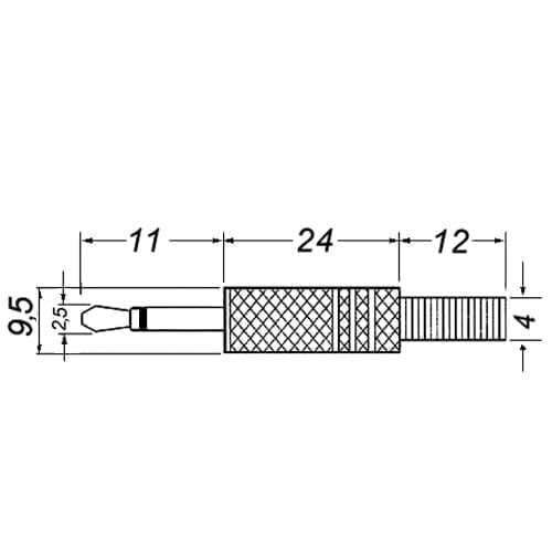Spina jack 2,5 mm mono dorata GBC