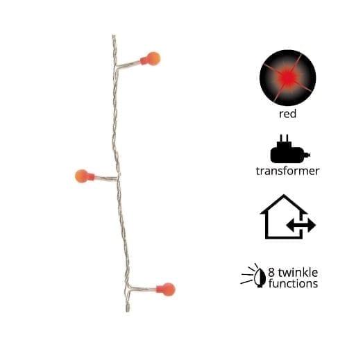 Catena 180 LED ciliegia rossa 6mt GBC