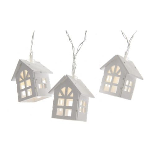 Catena 10 casette natalizie di legno bianche - GBC