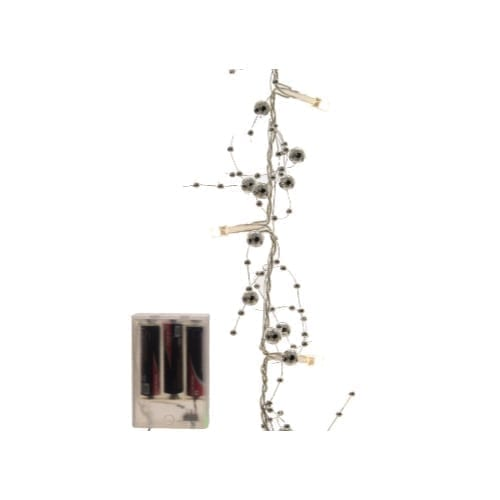 Catena 20 led perle argento 120 cm bianco caldo a batteria uso interno - GBC