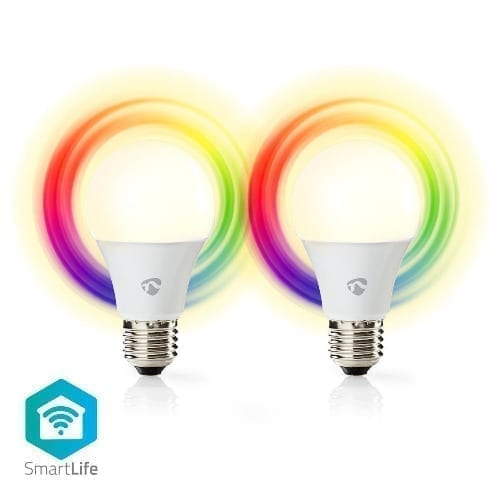 Kit 2 lampade Wi-Fi Smart 9W LED Nedis RGB