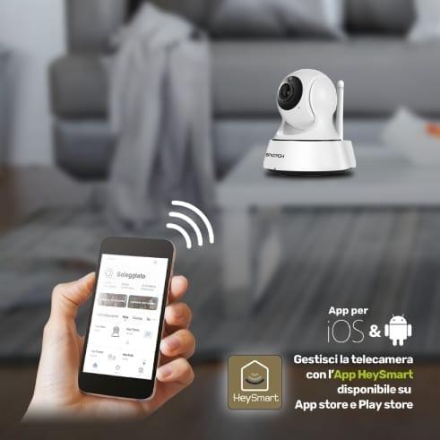 Telecamera IP Wi-Fi/ RJ45 motorizzata compatibile Google Home / Alexa